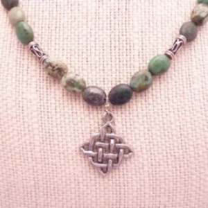Rustic Turquoise Necklcce Pewter Celtic knot Pendant