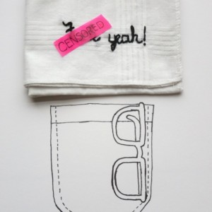 Funny Hanky Fuck Yeah Ironic Gift Handkerchief Embroidered Curse Words Fuck Embroidery by wrenbirdarts