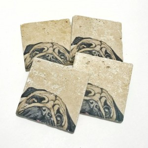 Pug Coasters, Dog, Natural Stone Coasters, Set of 4, Full Cork Bottom, Rustic Decor, Travertine, Animal Coasters, Animal Decor, Dog Decor