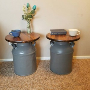 Vintage Milk Can End Tables, Set of 2