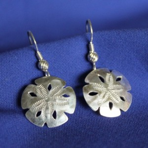 Sterling Silver Sand Dollar Earwire or Post Earrings