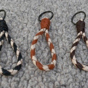 "Braided Leather Keychain Key Fob - 5"" Length - Barber Pole Stripe"