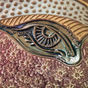 Abstract Eye Tray Pottery Microwave and Dishwasher Safe Soap Dish Spoon Rest Jewlery Holder