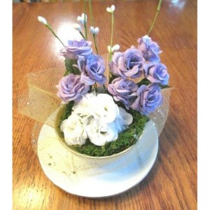 Tea Cup Roses Flower Arrangement Lavender