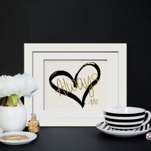 Love Always -Me - Real Gold Foil Print Wedding Gift, Anniversary Gift, Engagement Gift