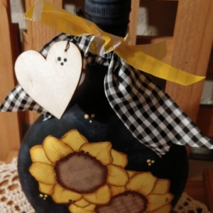 Upcycled Glass Bottle, Sunflower Decor, Kitchen Accents, Sunflowers