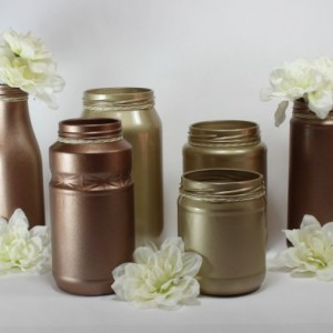 Wedding Jar Vases Champagne Copper - Reception Decor - Tabletop Decor - Baby Shower Decorations - Wedding Centerpiece - Copper Wedding