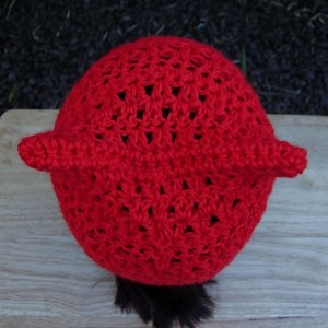Women's Bright Lipstick Red Pussy Cat Hat, Summer Lacy PussyHat Lightweight Soft Acrylic Crochet Knit Solid Red Thin Beanie, Resist, Ready to Ship in 3 Days