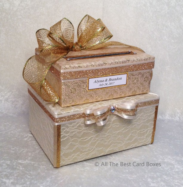 Gold Wedding Card Box, 2 Tiers, Holds 150 Cards
