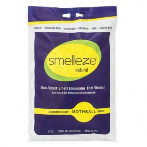 SMELLEZE Natural Moth Ball Smell Deodorizer Granules 25 lb. Bag Sprinkle Generously