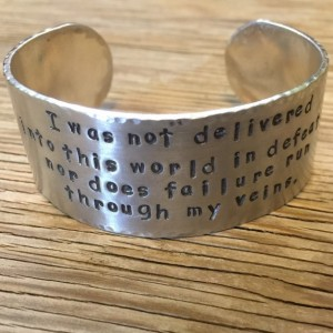 Hand stamped cuff bracelet 1 inch aluminum ONE bracelet custom jewelry inspirational jewelry personalized cuff gift for her