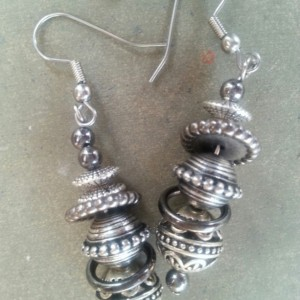 Silver Smoke Saturn Earrings