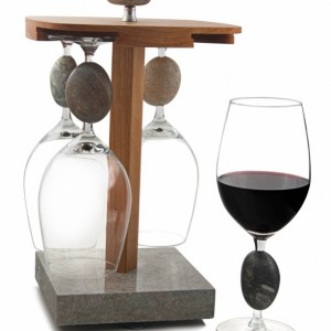 Sea Stones Touchstone Wine Glass Granite and Cherry Holder, Barware, Wine Glasses