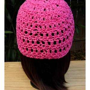 Solid Hot Pink Summer Beanie, 100% Cotton Lacy Skull Cap, Women's Crochet Knit Dark Pink Hat, Raspberry Chemo Cap, Ready to Ship in 3 Days