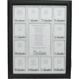 Baby First Year Picture Frame with Name Collage Black Picture Frame and White Matte 11x14