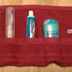Travel Toiletry Roll Red ,  Travel Toothbrush Roll,  Gym Bag Roll,  Toothbrush Holder,  Camping,  Overnight,  Make Up Brush Roll