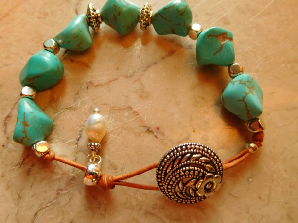 Natural leather and turquoise pebbles beads bracelet and matching earrings set design.  #BES00117