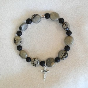 One Decade Rosary of Picasso Jasper and Lava Beads