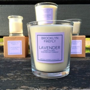 Lavender Candle. Scented Soy. 13 Ounce Reusable Glass Tumbler.
