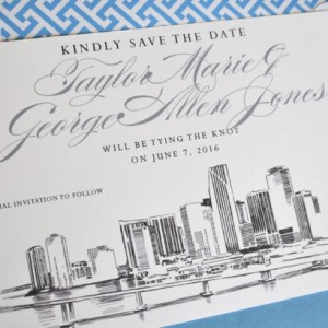 Miami City Skyline Hand Drawn Save the Date Cards (set of 25 cards)