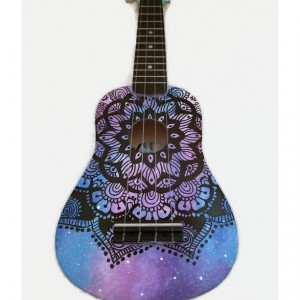 Concert Galaxy Mandala Ukulele, Hand Painted Ukulele, Decorated Ukulele, Galaxy Paint, instrument, ukelele, soprano, tenor, baritone, guitar
