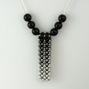 Ombre' Swarovski Pearl Vertical Slide Bar Pendant necklace