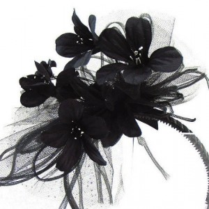 "HAIR Adornment ""Ella"" Fantasy Black Hair Band Flowers, Netting, Headband for Costume, Prom, Dress, Wedding or an Afternoon Tea"