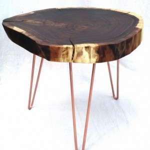 Walnut Natural Live Edge Round Slab Side Table / Coffee Table with Copper Hairpin Legs