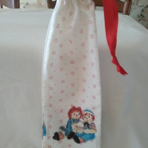 Raggedy Ann and Andy Gifts, Handmade Gift Bag, Reusable Bag, Drawstring Valentines Day Bag for Her, Drawstring Handsewn Travel Bag