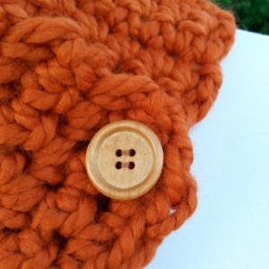 NECK WARMER SCARF, Solid Bright Burnt Orange Buttoned Cowl, Acrylic Wool Blend, Wood Buttons, Thick Crochet Knit..Ready to Ship in 2 Days
