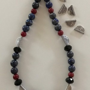 Silver Plated Black Glass, Blue & Red Acrylic Necklace