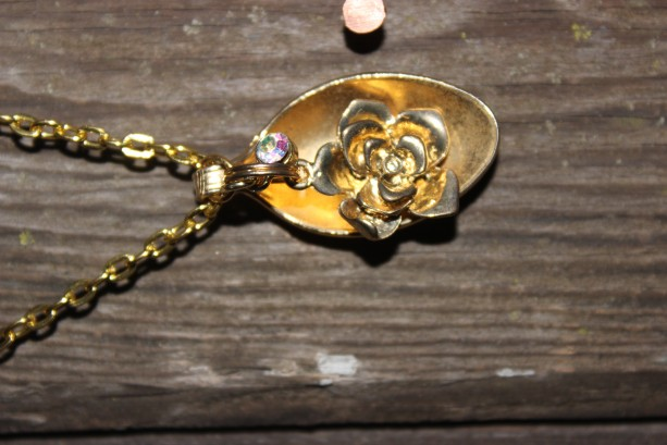 Flower and gem charm and necklace