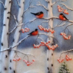 """Wool Painting """"Bullfinches in a birch grove"""""""