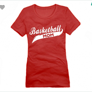 Basketball Mom XS To XL District Brand Crew T-shirt For Women In Red With White Ink
