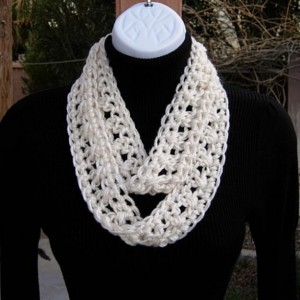 Small SUMMER SCARF Infinity Loop, Solid Light Cream Champagne Off White, Extra Soft 100% Acrylic Crochet Knit Narrow Skinny, Cowl..Ready to Ship in 2 Days