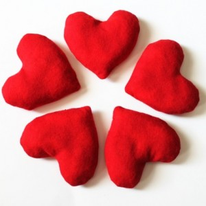 Crimson Red Heart Shaped Bean Bags (Set of 5) Flannel Birthday Party Favors Valentine's Day (Includes US Shipping)