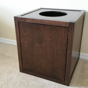Cat Litter Box Cube with Top Opening, Wood not MDF, Made in USA, Choice of Stain  (Many Configurations Available)