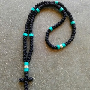 komboskini/orthodox prayer rope 100 knot- black with turquoise and silver bead black with turquoise and silver