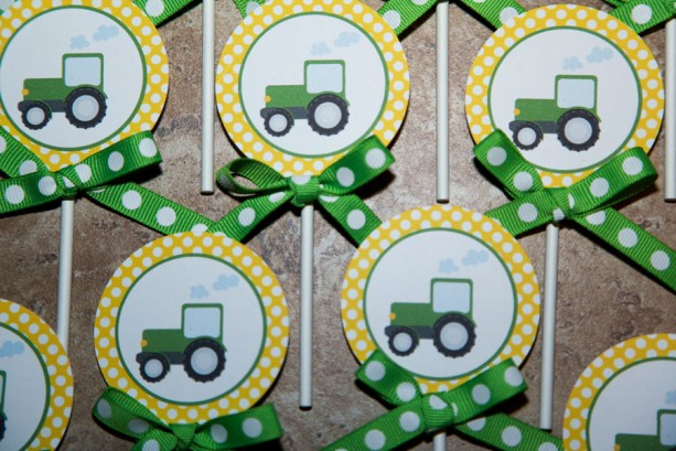 John Deere Tractor themed cupcake toppers | aftcra