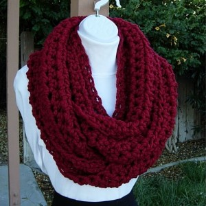 Large Dark Solid Red INFINITY SCARF Crochet Loop, Oversized Cowl, COLOR Options, Bulky Chunky Wide Soft Wool Blend Knit Winter Circle Big Cranberry Red Scarf, Ready to Ship in 5 Business Days