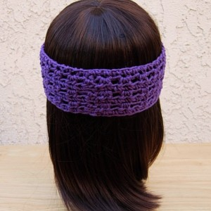 Women's Solid Dark Purple Summer Headband, Lightweight 100% Cotton Lacy Lace Crochet Knit Simple Basic Head Band, Ready to Ship in 3 Days