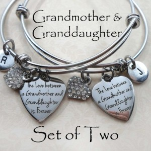 Set Of Two Grandmother & Granddaughter Forever Stainless Steel Bangle