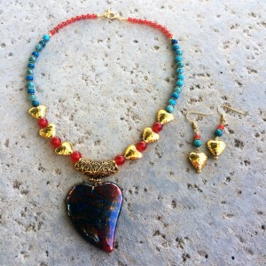 Dragon's vein agate, crazy lace, and gold statement heart Necklace and earrings