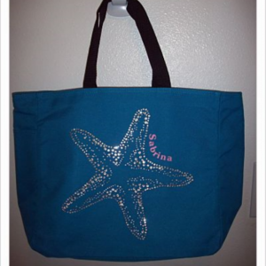 Personalized Rhinestone Starfish Tote Bag with Pockets to hold waterbottle