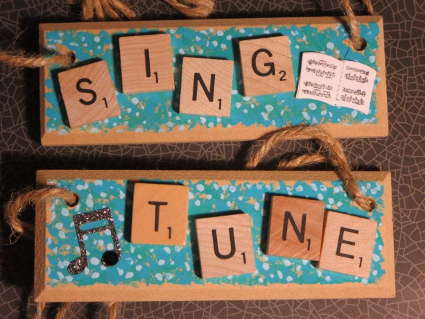 Set of 2 Scrabble® Game Tile Wooden Plaques Sing & Tune