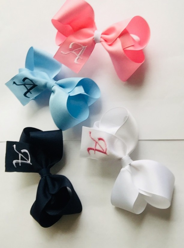 First Initial Monogram Bow