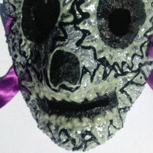 Gray Day of the Dead/Dia de los Muertos Mask  by Anthony Saldivar - One of a kind Glows in Dark