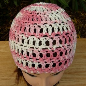 Pink and White Summer Beanie, 100% Cotton Lacy Skull Cap, Women's Crochet Knit Beach Hat, Lightweight Chemo Cap, Ready to Ship in 3 Days