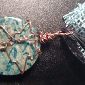 Blue Jasper Pendant wrapped in copper