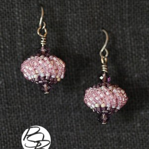 Beaded Bead Earrings – Purple